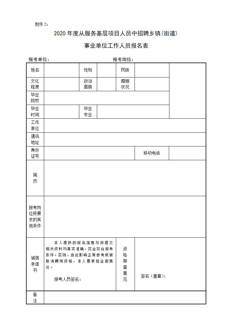 附表2:2020年度从服务基层项目人员中招聘乡镇(街道)事业单位人员报名表_01.png